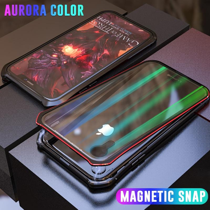 Di lusso Aurora Caso Magnetica A Scatto Per il iphone XS Max XR Del Respingente Del Metallo di Caso di Calamita Per iPhone X 7 8 Più copertura In Vetro Trasparente