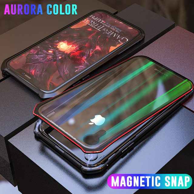 promo code a352e 1da25 US $12.12 20% OFF|Luxury Aurora Magnetic Snap Case For iPhone XS Max XR  Metal Bumper Magnet Case For iPhone X 7 8 Plus Cover Transparent Glass -in  ...