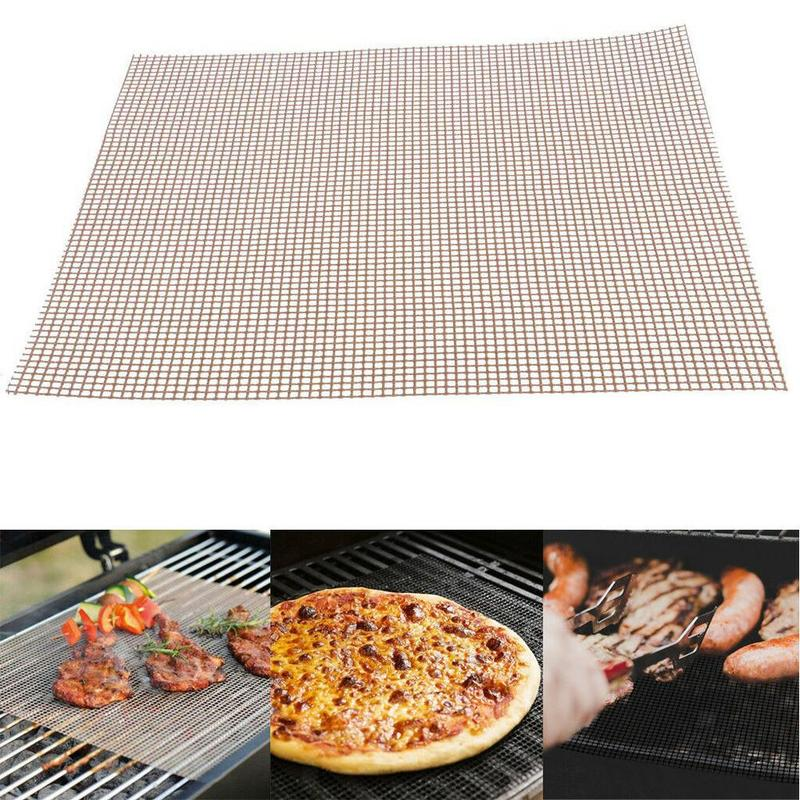 Grid Shape BBQ Barbecue Mat Non-stick BBQ Grill Mesh Baking Liners Reusable Teflon Cooking Sheet Heat Resistance Cooking Tool shelf