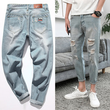 c5ba1d30b25 High quality 2019 Summer light blue Distressed Ripped hole jeans men pants  beggar denim Badge Casual