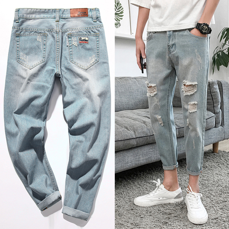 High Quality 2020 Summer Light Blue Distressed Ripped Hole Jeans Men Pants Beggar Denim Badge Casual Teenager Ankle Length Pants