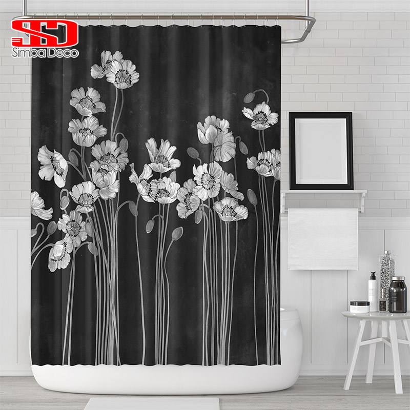 Modern Style Black Shower Curtain For Bathroom Hooks Decoration Bathtub Waterproof Mildew Simple