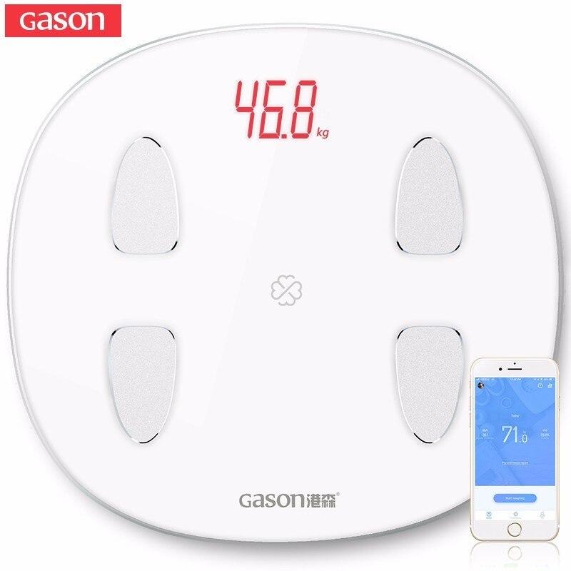 GASON S6 Bilancia Piano Scientifica Smart LED Elettronico Digitale del Peso di Grasso Corporeo Bagno Equilibrio Bluetooth APP Android o IOS