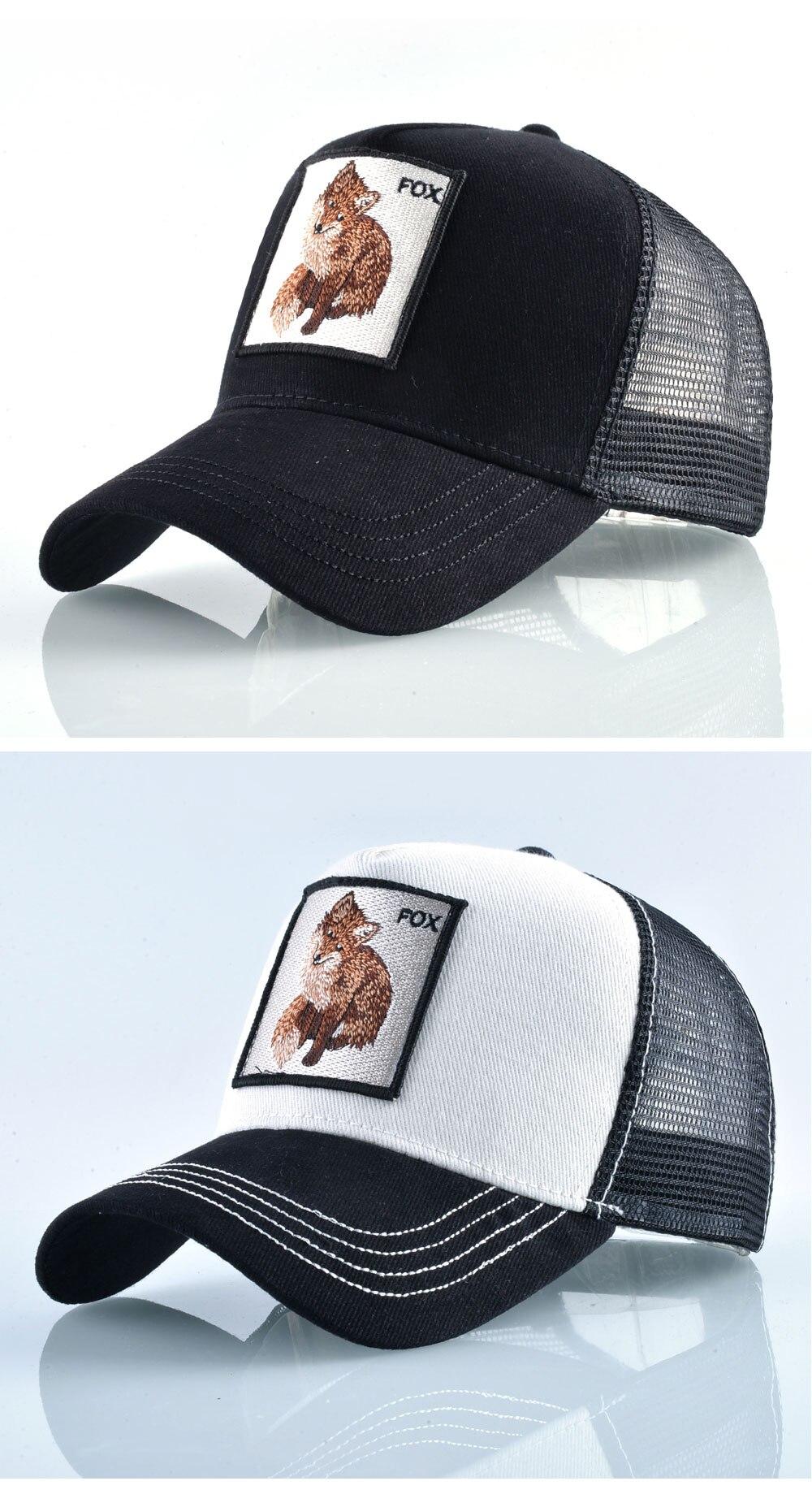 b622139385c36 Cotton Snapback caps for men Embroidery Fox Baseball Cap Women s Breathable  Mesh Trucker Hat Unisex Patch Hip Hop Bone Casquette