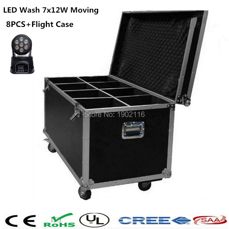 8pcs/lot with a flight case  LED Mini Wash Moving Head Light 7x12w RGBW 4in1 dmx Stage Light dj lighting For Wedding Christmas