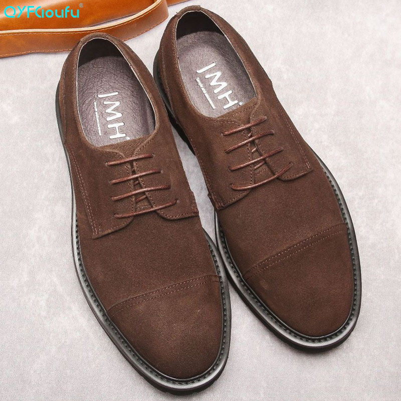 QYFCIOUFU New Fashion Suede Formal Shoes Men Round Toe Dress Genuine Leather Breathable Groom Wedding Casual