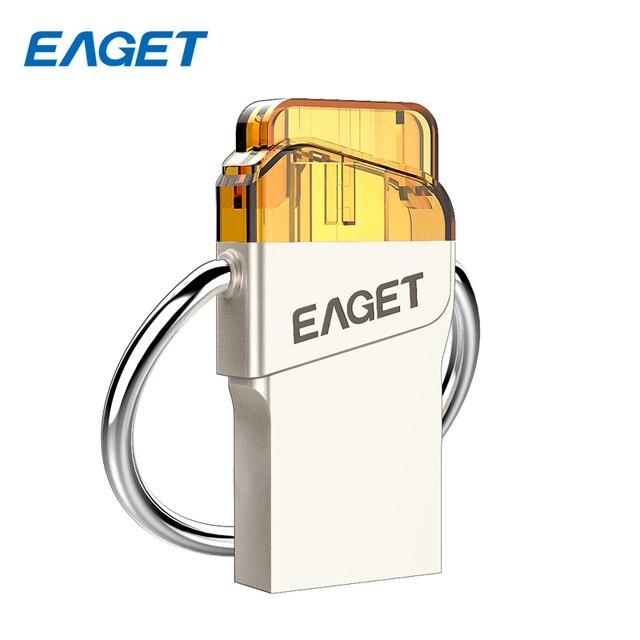Eaget v66 dispositivo de memoria pen drive usb 3.0 flash drive 64g 32G 16G de Metal USB Stick OTG para Android Smartphone Tablet PC