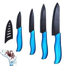 """Keramik messer set 3 """"schäl 4"""" utility 5 """"schneiden 6"""" kochmesser mit schwarzer klinge + blauen griff und vier abdeckung küchenmesser set"""