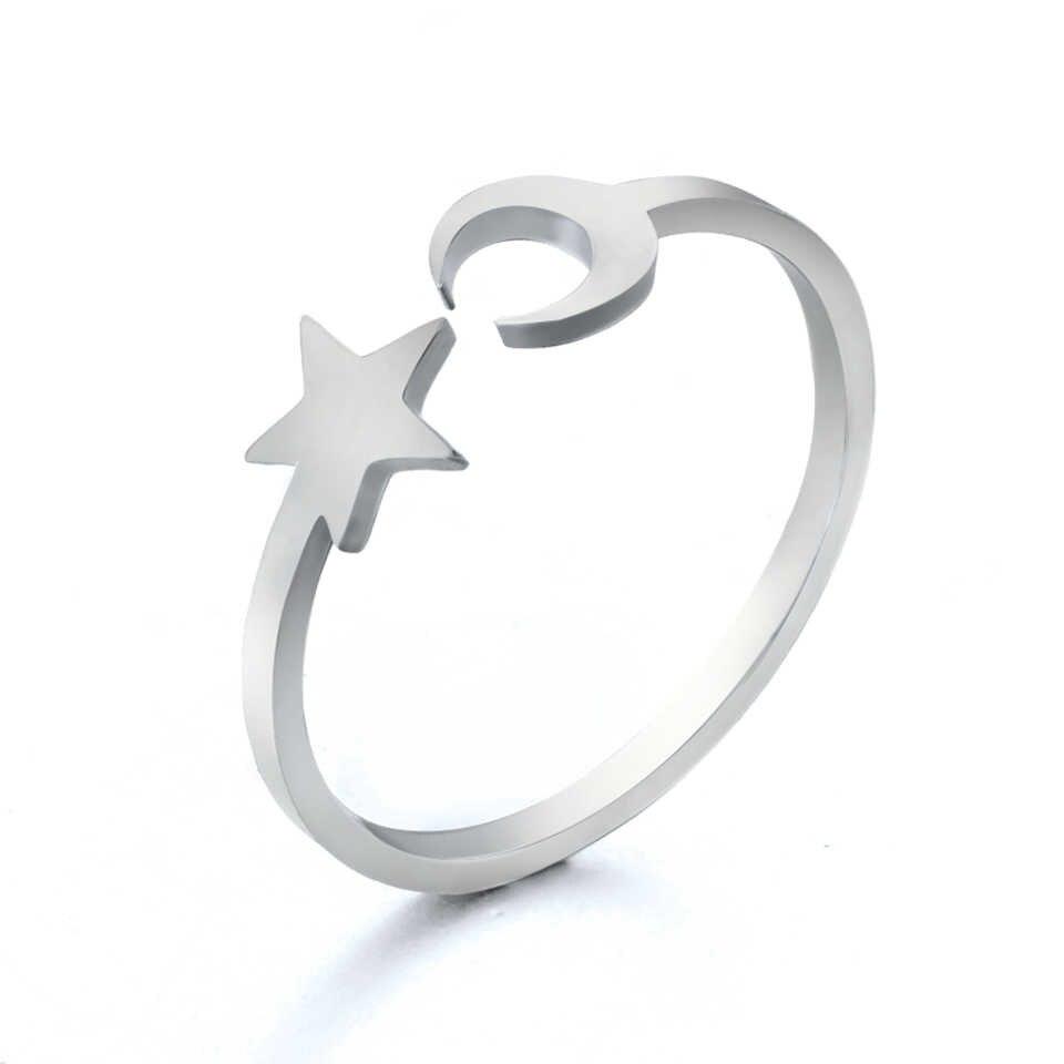 2019 Novos Anéis de Aço Inoxidável para As Mulheres Clássico Lua Estrela de Prata de Ouro Anel de Moda Festa de Casamento Jóias Presentes Redimensionáveis