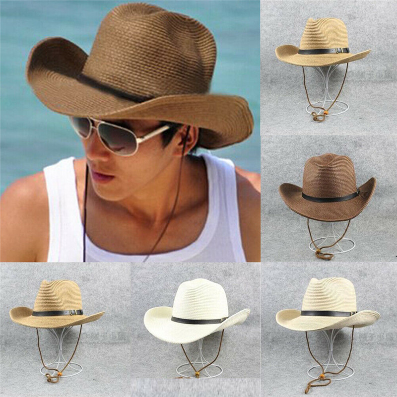 New Women Men's  Sun Hat  Summer Beach Natural Cowboy Wide Brim Straw Hat