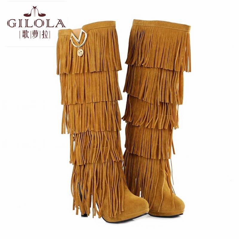 Boyutu 35-43 moda püskül bayanlar diz yüksek yüksek topuklar kadın boots sonbahar botları bayan ayakkabıları kadın en # Y3207028F