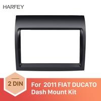 Harfey 2 Din car Fascia UV Black Dash Mount Kit Adapter Frame Panel for FIAT DUCATO 2011 Car Fitting kit DVD Frame Trim kit