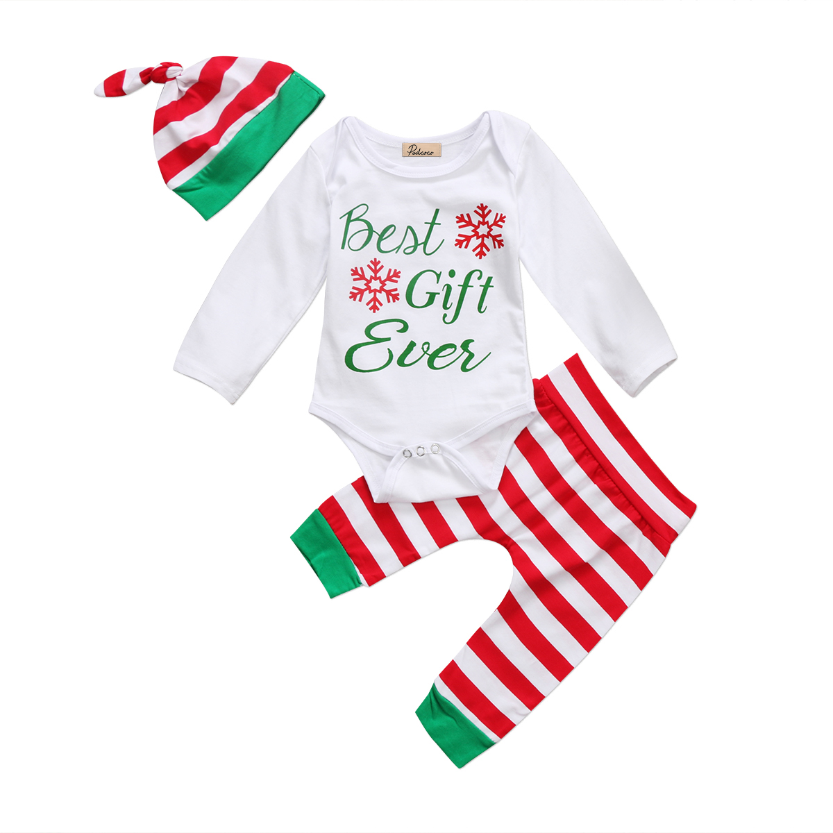 2PCS Baby Christmas Clothing Sets Newborn Baby Boys Girls Tops Long Sleeve Romper Striped Pants Hat Outfits Set Xmas Clothes higole gole1 plus mini pc intel atom x5 z8350 quad core win 10 bluetooth 4 0 4g lpddr3 128gb 64g rom 5g wifi smart tv box