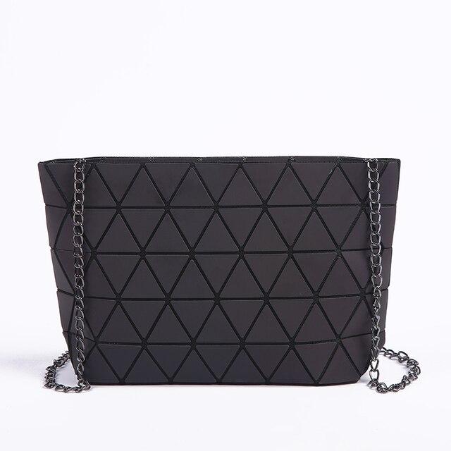 New Women Chain Shoulder Bag Luminous sac Bao Bag Fashion Geometry Messenger Bags Plain Folding Crossbody Bags Clutch bolso 3