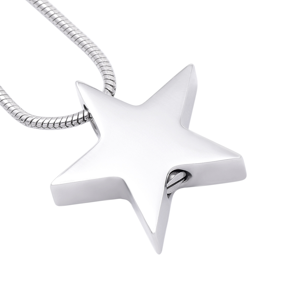 MJD8453 Cremation Pendant Jewelry 316L Stainless Steel Star Urn Cremation Pendant With Chain