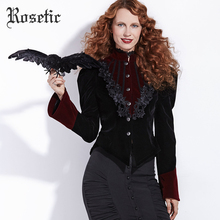 Rosetic Gothic Jackets Women Autumn Black Slim Floral Fashion Patchwork Casual Outerwear Elegant Harajuku Victorian Goth Coats