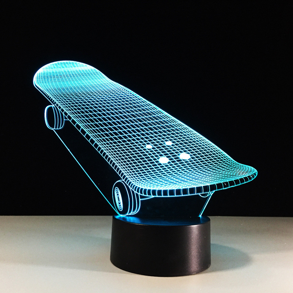 Kreativ 7 Farbe 3d Led Nachtlicht Lampada Usb Schreibtisch Beleuchtung Schlafzimmer Schlaf Kreative Skateboard Christma Kinder Geschenk Dekor Leuchte Wir Haben Lob Von Kunden Gewonnen