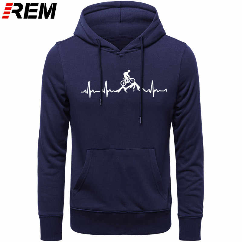 REM Hoodies Mountain Bike Heartbeat Funny MTB Dirt Bike Plus Custom LONG Sleeve Men's Fashion Family Cotton Hoodies, Sweatshirts