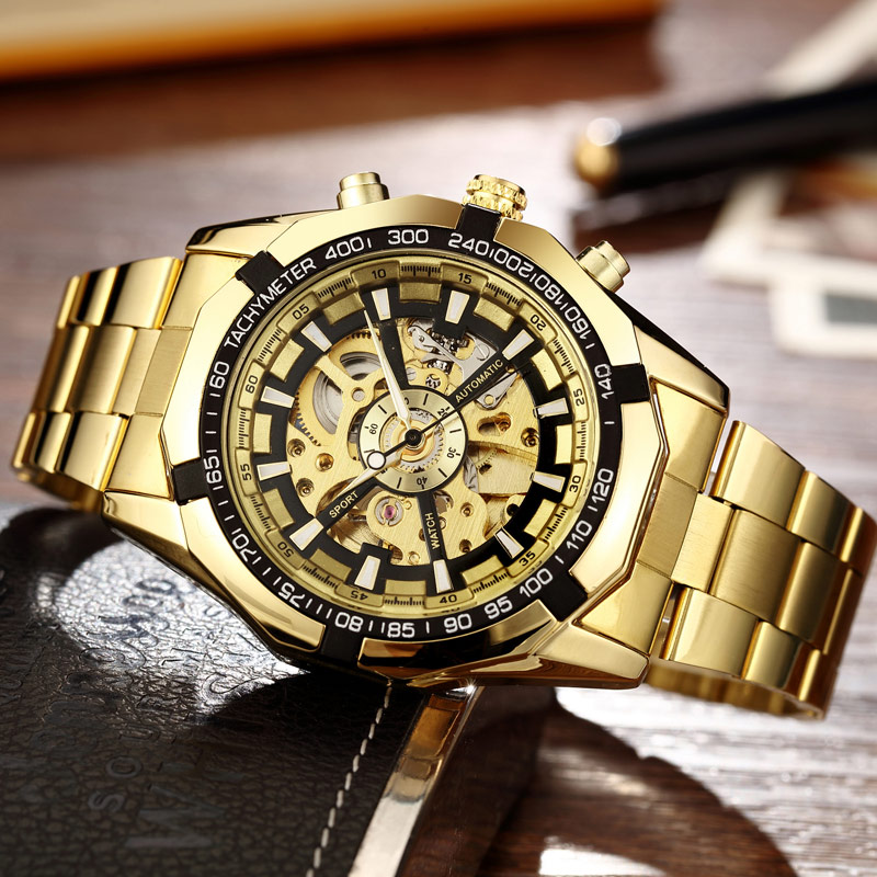 Luxury Silver Automatic Mechanical Watches for Men Skeleton Stainless Steel Self-wind Wrist Watch Men Clock relogio masculino