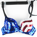 Sequin USA America Flags Women Club Wear Stage Performance Dancing Costume Ladies Glitter Push Up Bras Fancy Dress