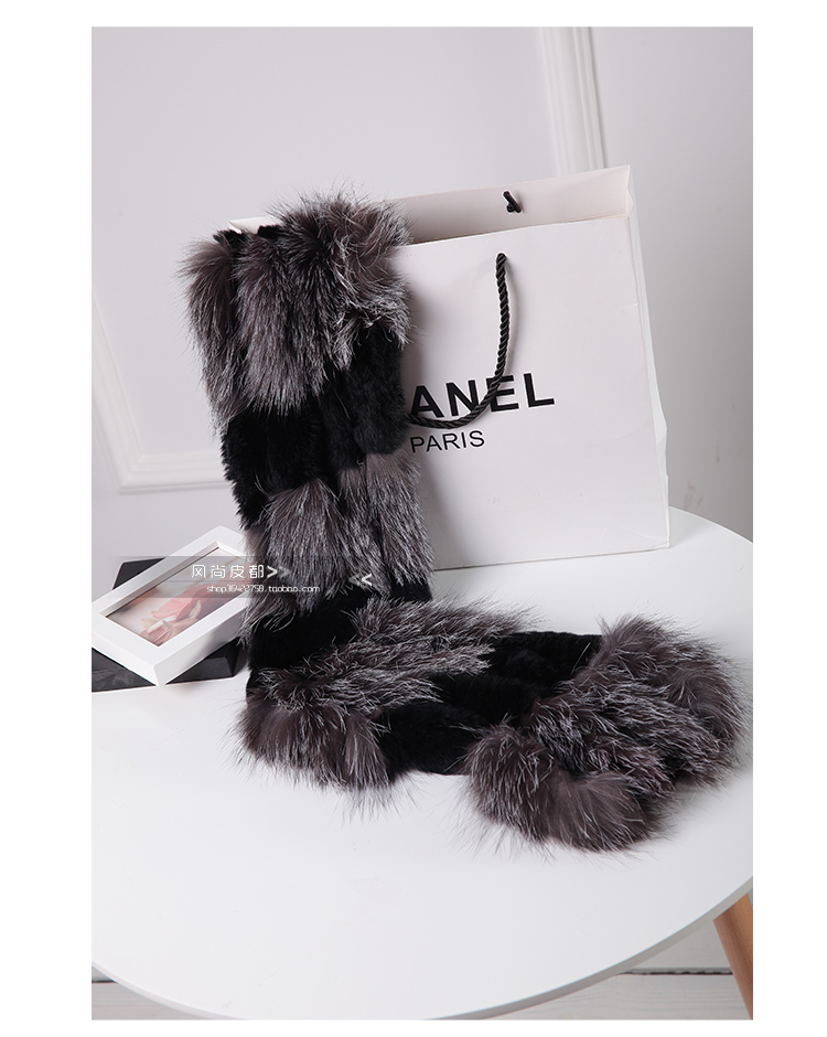 Image 2 - Harppihop silver fox fur black color New Fox fur c/w rex rabbit fur scarf wrap cape shawl best Christmas gift birthday gift-in Women's Scarves from Apparel Accessories