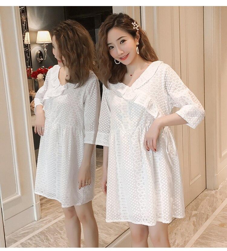1028#7/10 рукав v-образный вырез Милая белая хлопковая кружевная рубашка для беременных весенне-летняя модная одежда для беременных женщин топы для беременных