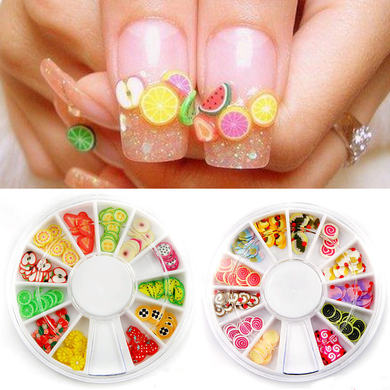 DIY Nail Art 3D Decorations Fruit Flower Cake Butterfly Polymer Clay ...