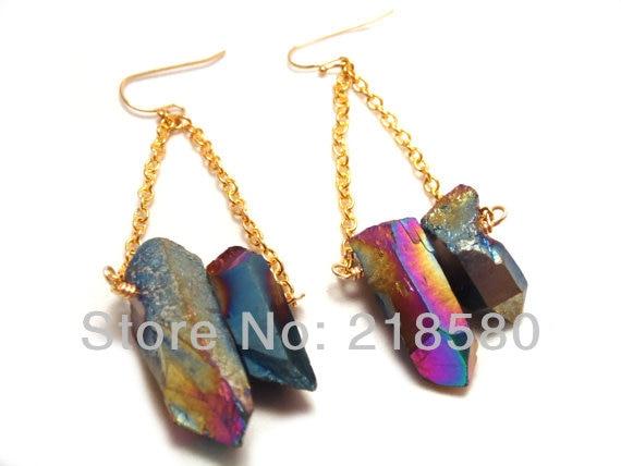 SER-039 Rough Rainbow Aura Quartz Point Crystal Dangle Earrings, Gold or Silver Plated