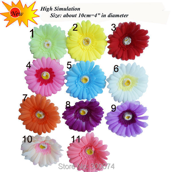 10pcs/bag 10cm Artificial Silk Gerbera Daisy Head Wedding diy hair clip, Yellow Decorative Flowers, Bridal Hair Clip Craft Flori