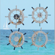 Mediterranean Style Anchor Helmsman Wooden Boat Ship Rudder Fishing Net Home Wall Nautical Decor