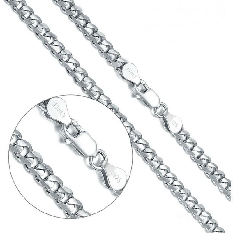 Collier en argent 925 pour hommes/garçons, collier chaîne en argent Sterling, collier ras du cou Cool 4.2mm/5mm