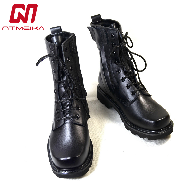 Big Size 37-46 High Quality Leather Men Boots Steel Toe Work Safety Shoes Men Black Army Military Boots Waterpoof Platform Shoes