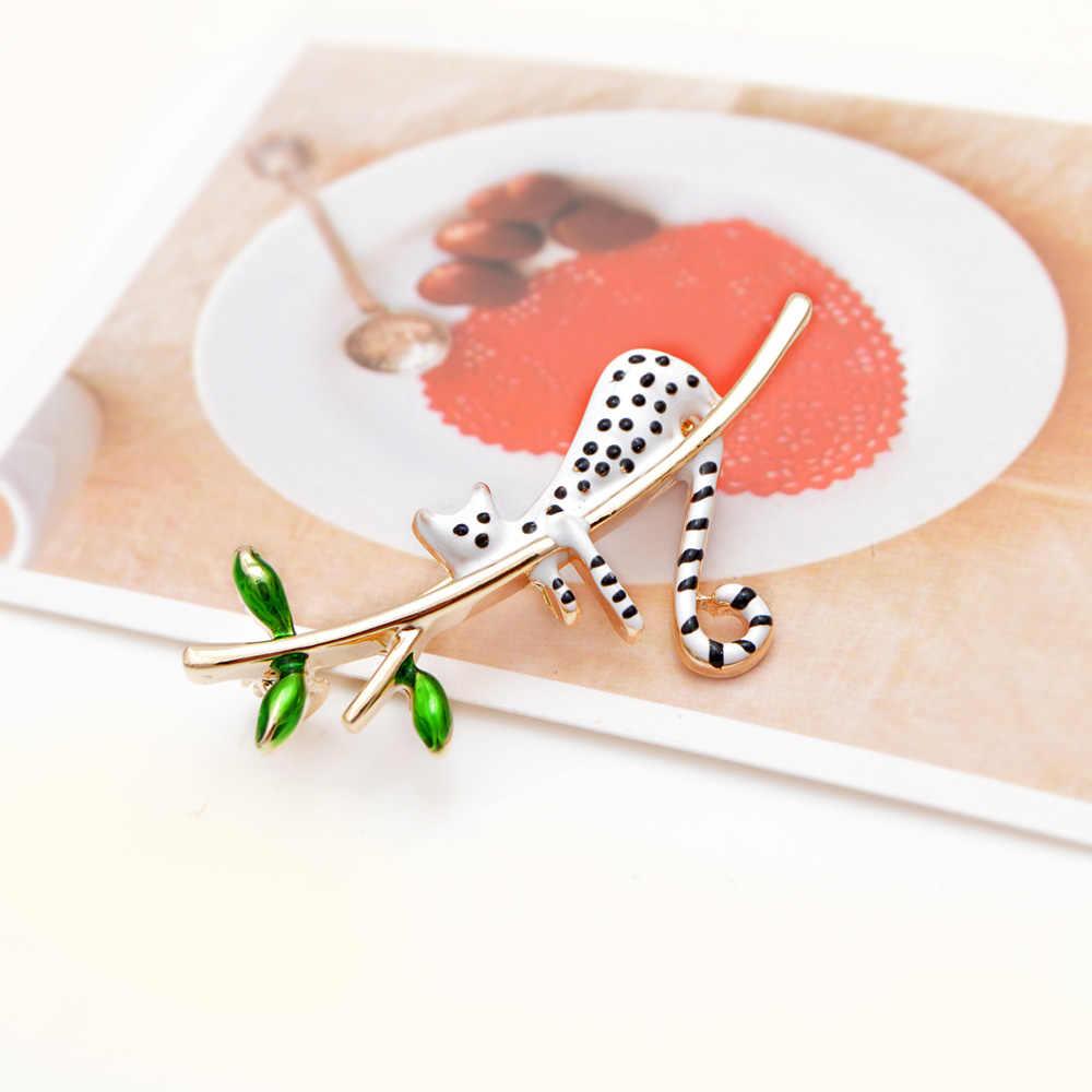 Nước Hoa Nữ Cindy Hạng Trắng Với Điểm Đen Mèo Thổ Cẩm Chơi Trên Cây Kitty Pin Thiết Kế Dễ Thương Phong Cách Mùa Hè Cưới Trẻ Em Trang Sức quà Tặng