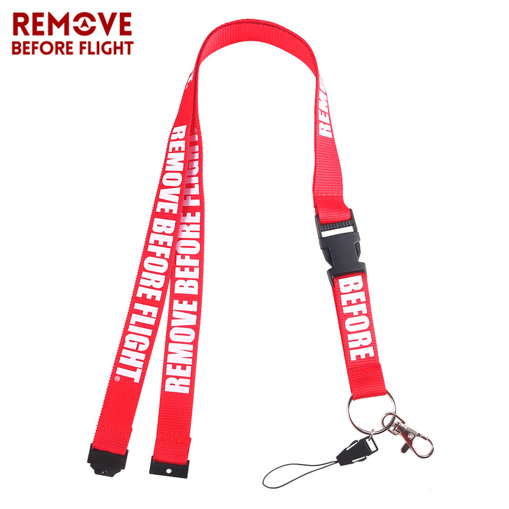 1 PC Remove Before Flight Lanyards For Key Holder Neck Strap For Card Badge Gym Key Chain Red Lanyard Hang Rope Keychain Lanyard