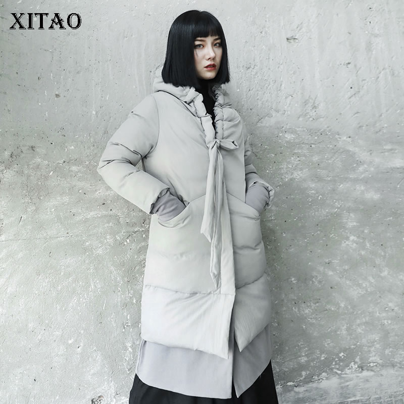[XITAO] Long Women 2018 Winter Korea Fashion New Arrival Full Sleeve Pocket Coat Femlae Solid Color Casual Long   Parka   LYH2381