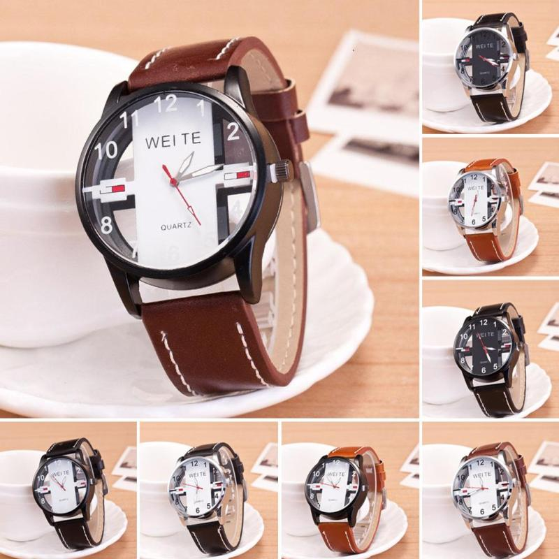 Men Hollow Quartz Wristwatch Male Outdoor Sport Leather Watches Unique Design World Time Gift Watch Relogio Masculino D40 jubaoli rotatable bezel male watch quartz leather strap wristwatch