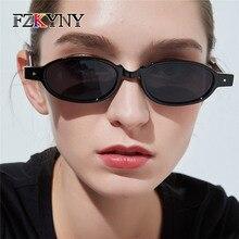 FZKYNY Fashion Rivet Oval Sunglasses Women Luxury Brand Designer Vintage Small Frame Points Sun Glasses Punk Style Rock Eyewear