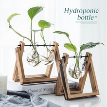 Vintage Terrarium Hydroponic Plant Vase Creative Transparent Glass Vases Wooden Frame Tabletop Flower Office Home Decor