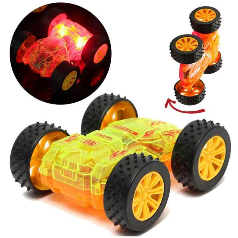 Funny Flashing LED Light Car 1:35 Electric cool-colored dual-side inertia stunt Cars Children Gift Toy Vehicles Random Color
