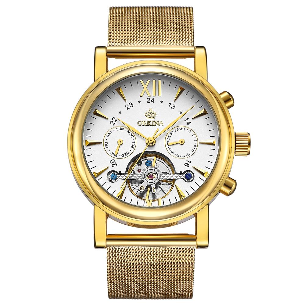 Big Dial Gold Men's Watches Golden Mesh Strap Stainless Steel Quartz Watch Men Male Clocks Famous Top Brand ORKINA Wristwatches