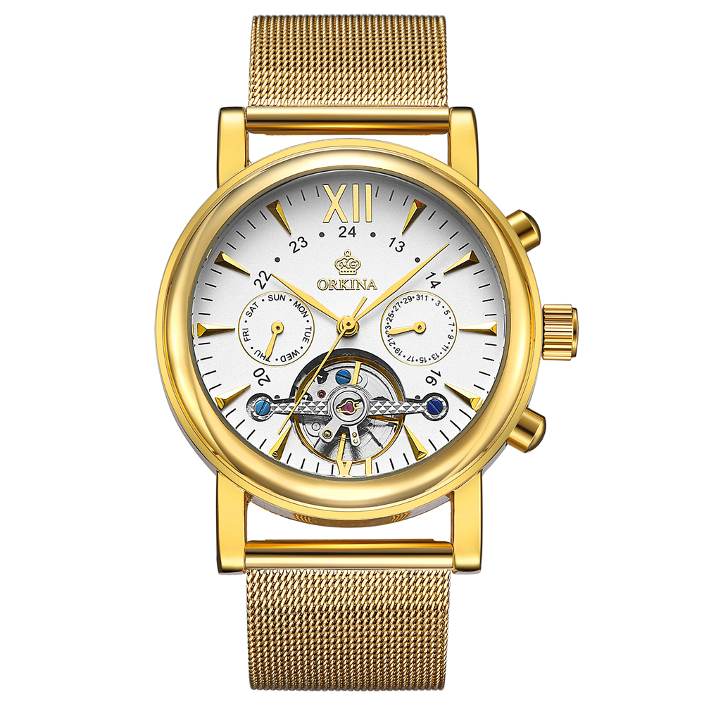 Big Dial Gold Men's Watches Golden Mesh Strap Stainless Steel Quartz Watch Men Male Clocks Famous Top Brand ORKINA Wristwatches multifunction sub dial orkina men vogue luxury quartz watch golden mesh metallic strap blue round dial hot sale classic gift