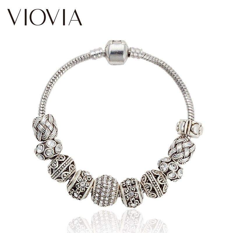 VIOVIA Fine Beads Jewelry Silver Color Charm Flower Bead