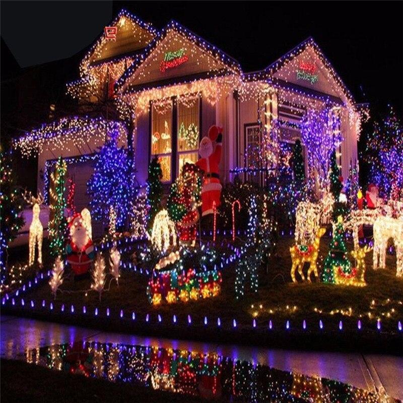 Outdoor String Lights 5M 10M 20M 30M 50M 100M Led Garland String Fairy Light 8 Mode Christmas Light Holiday Wedding Party in LED String from Lights Lighting