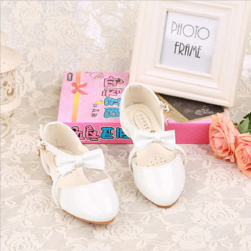 Girls Princess Shoes 2018 New Spring Bowtie Kids Children Wedding Sandals Dress Shoes Party Shoes For Girls size 26~35