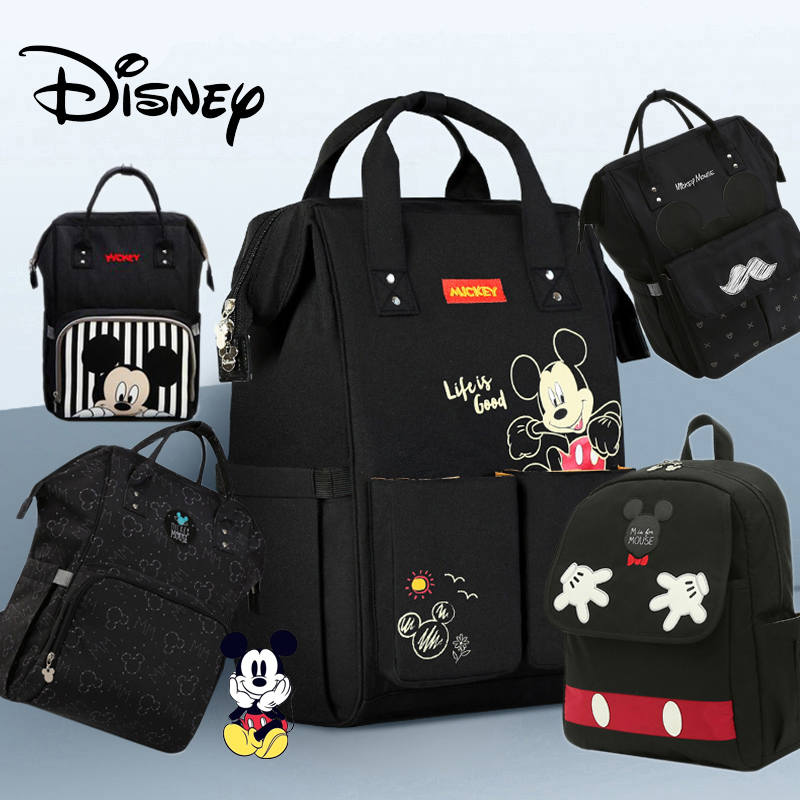 Disney Diaper Bag Backpack For Moms Baby Bag Maternity For Baby Care Nappy Bag Travel Stroller USB Heating Black Mickey Series