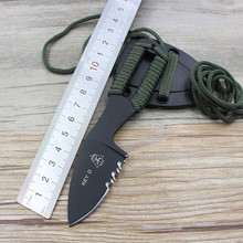 Black KEY -D Hollowed-Out Fixed Blade Hunting Knife Half Sawtooth Neck Tactical Survival Knife Fixed 1505#