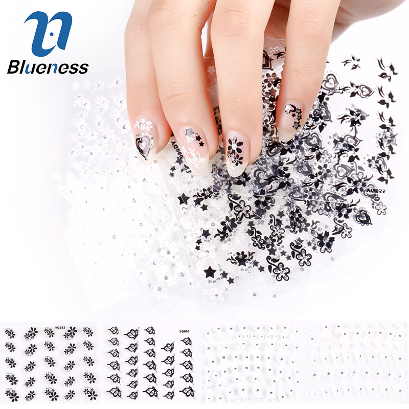Blueness 24Pcs Manicure Decals Design White Black Butterfly Flowers Nail Stickers DIY Decorations Tools For 3D Nail Art JH155