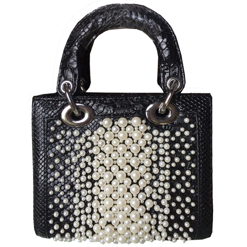 2018 Handbag For Women Crocodile Leather Handle Bags With Pearls Ladies Luxury Hand Shoulder Bag Women Messenger Bag