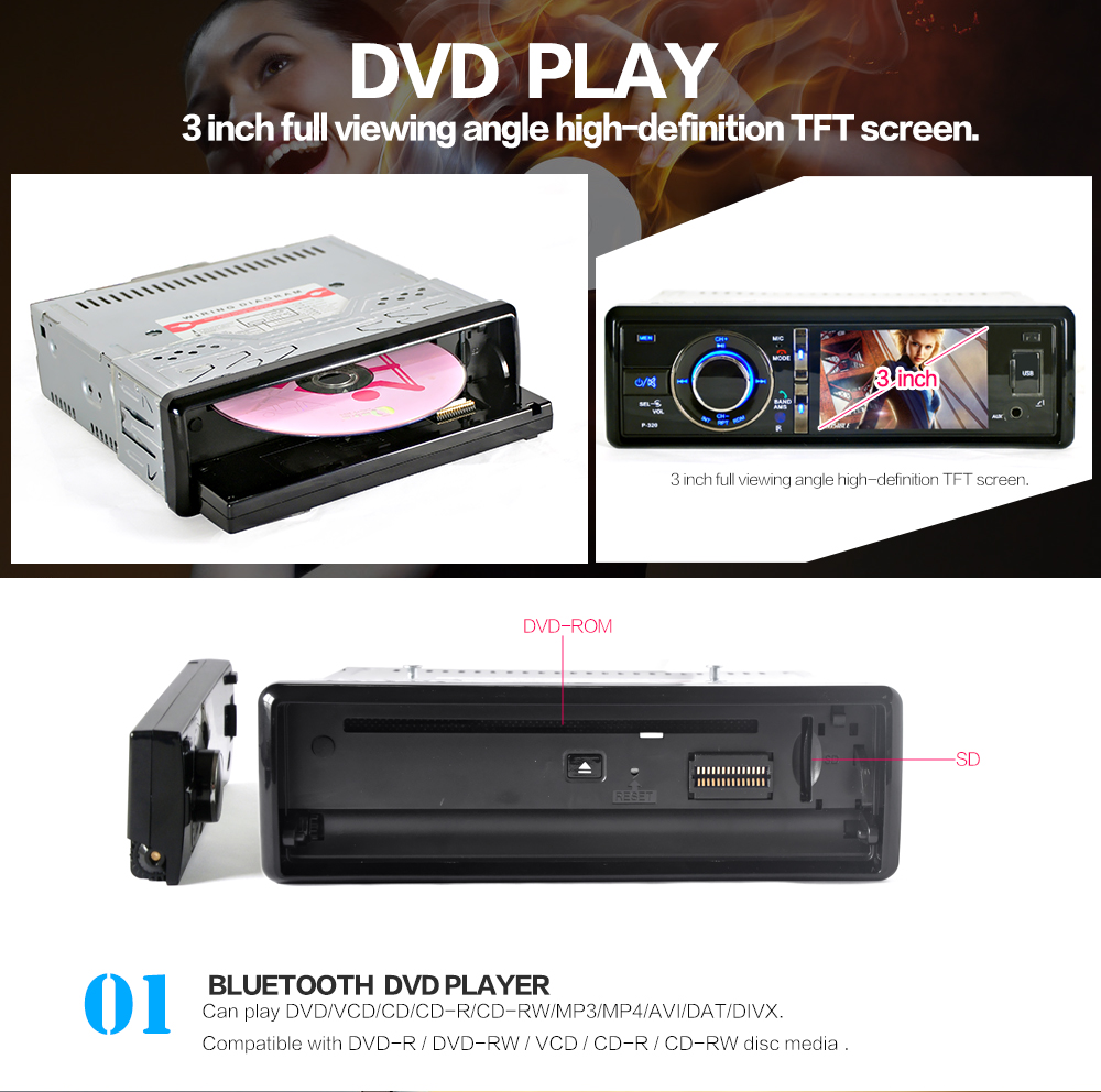 3 hd car dvd player touch screen radio stereo detachable. Black Bedroom Furniture Sets. Home Design Ideas
