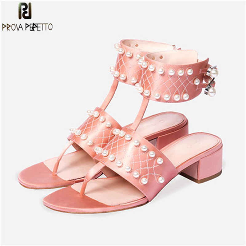 Prova Perfetto Summer New Style Flip Flops Sandals Women Silk Pearl Buckle Gladiators Sandals Woman Mid Heel Sandals Party Shoes